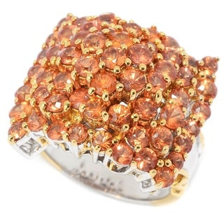 Michael Valitutti Palladium Silver Orange Sapphire High-Set Cluster Ring