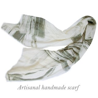 Hand Printed Shawl in Soft Linen Cotton, Handmade Scarf, Original Design Shawl, Natural Fiber Scarf