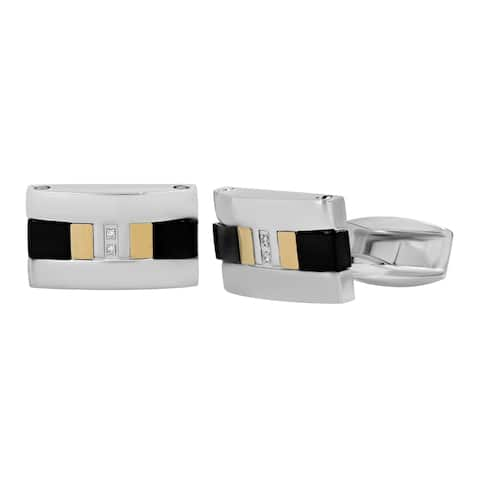 Men's Stainless Steel Gold Titanium Tri-Tone Diamond Accent Cufflinks