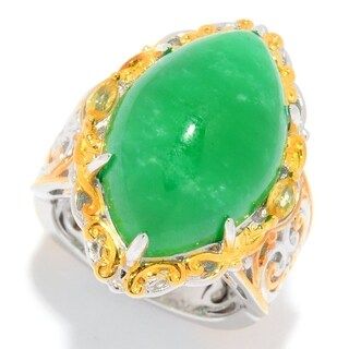 Michael Valitutti Palladium Silver Marquise Shaped Burmese Green Jade & Yellow Sapphire Ring