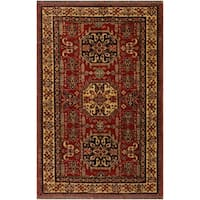 Super Kazak Clyde Red/Tan Hand-Knotted Rug (4'3 x 5'8) - 4 ft. 3 in. x 5 ft. 8 in.