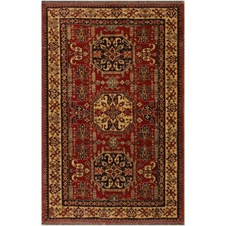 """Super Kazak Clyde Red/Tan Hand-Knotted Rug (4'3 x 5'8) - 4' 3"""" x 5' 8"""""""