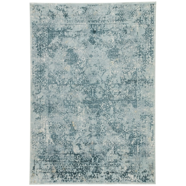 """Shop Olwyn Abstract Blue/ Teal Runner Rug (2'6""""X8')"""