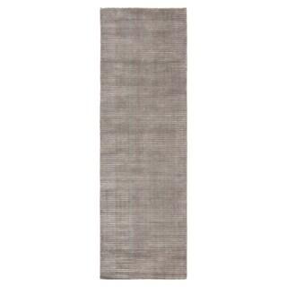 """Phase Handmade Solid Gray/ Silver Runner Rug (2'6""""X8') - 2'6"""" x 8' Runner"""