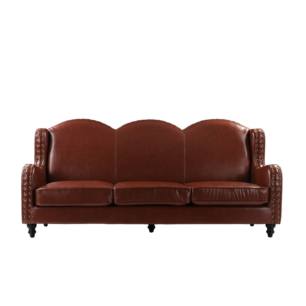 Traditional 3 Seater Leather Sofa