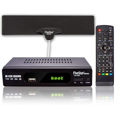 Five Star HD Digital TV Converter Box 1080p HDMI Output, 40 Miles Flat Antenna & Amplifier