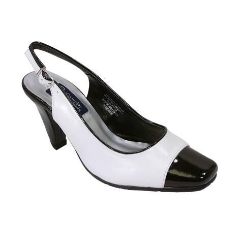 PEERAGE Roxy Women Extra Wide Width White & Black Slingback Heel Shoes