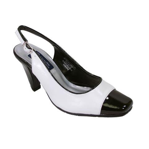 PEERAGE Roxy Women Extra Wide Width White & Black Slingback Heel Shoes by  Purchase
