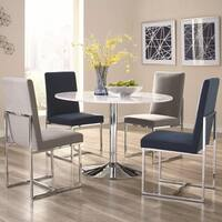 Modern Floating Design Round Dining Set with Italian Carrara Solid Marble Table Top
