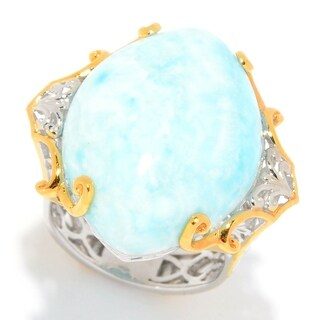 Michael Valitutti Palladium Silver Marquise Larimar Cocktail Ring