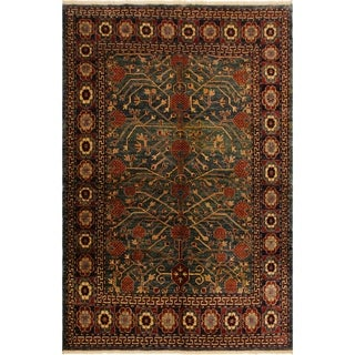 Super Kazak Lashell Green/Beige Hand-Knotted Rug (4'6 x 5'8) - 4 ft. 6 in. x 5 ft. 8 in.