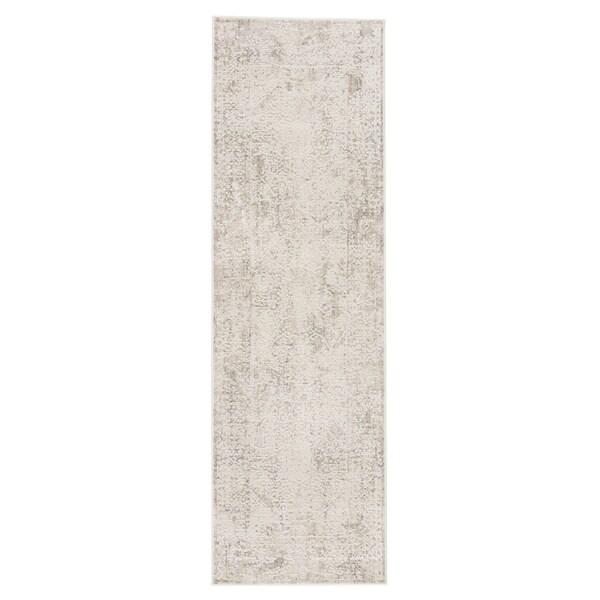 """Lolani Abstract Silver/ White Runner Rug - 2'6"""" x 8' Runner"""