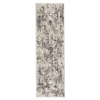 """Olwyn Abstract White/ Gray Runner Rug - 2'6"""" x 8' Runner"""