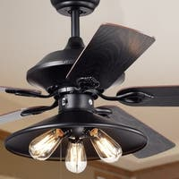 Upille 3-light Metal 5-blade 52-inch Matte Black Ceiling Fan (includes Edison Bulbs)