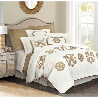 HiEnd Accents Madison Duvet Cover w/Velvet Embroidery, Queen Oat