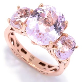 Michael Valitutti 14K Rose Gold Kunzite Three-Stone Euro Shank Ring