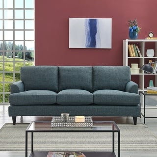 Handy Living Orlando SoFast Medium Blue Hereringbone Slipcover Sofa