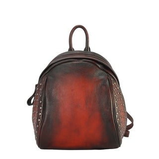 Diophy Genuine Leather Two Tone Stud Small Backpack