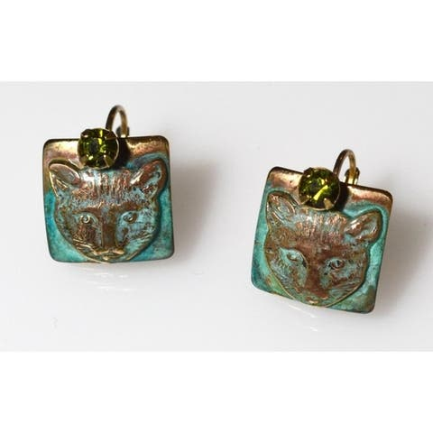 Handmade Olive Patina Solid Brass Cat Earrings - Crystals (USA)