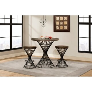 Hillsdale Kanister 3-Piece Round Counter Height Dining - Walnut Finish