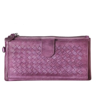 Diophy Genuine Leather Woven Pattern Wallet Clutch