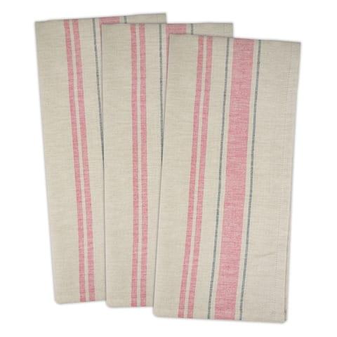 DII French Stripe Woven Dishtowel Set of 3