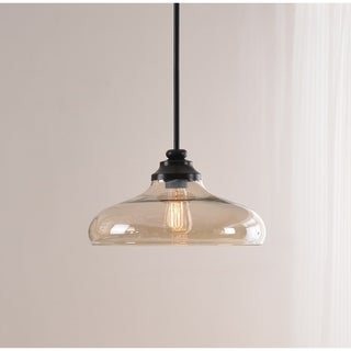 Caden 1 Light Pendant - Oil Rubbed Bronze with Amber Glass