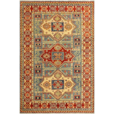 Kazak Aaron LIGHT Blue/Beige Hand-Knotted Rug (4'9 x 6'7) - 4 ft. 9 in. x 6 ft. 7 in. - 4 ft. 9 in. x 6 ft. 7 in.