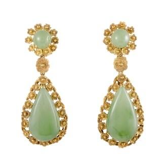 Yellow Gold Jade Teardrop Dangle Earrings