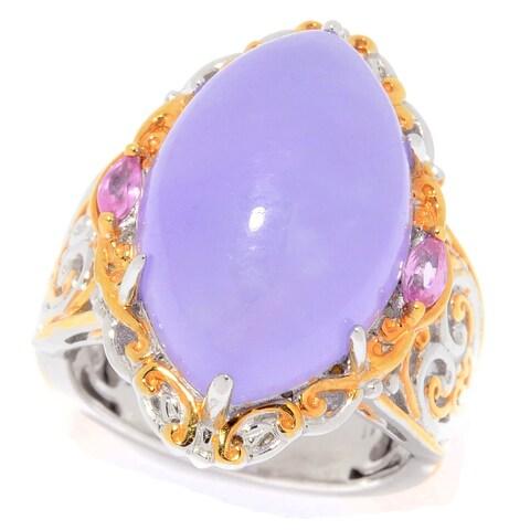Michael Valitutti Palladium Silver Marquise Shaped Burmese Purple Jade & Pink Sapphire Ring