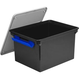 Storex Storage File Tote + Locking Handles/ Black-Silver Lid