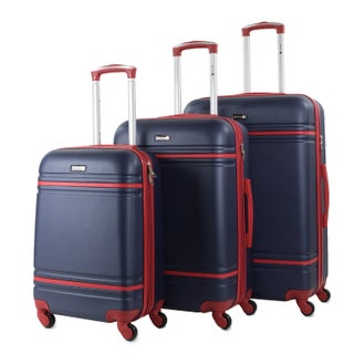 American Sport Plus Varsity 3-Piece Expandable Hardside Spinner Luggage Set (Option: Navy/Red)