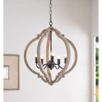 Sophia 5 Light Pendant - Weathered White with Distressed Black