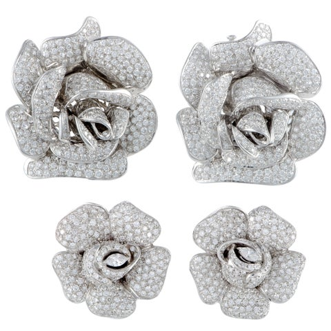 White Gold Full Diamond Pave Rose Pair of Brooches and Earrings