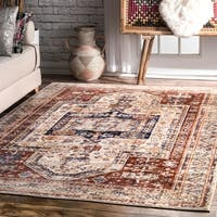 nuLOOM Rust Classical Tribal Antique Faded Border Area Rug