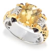 Michael Valitutti Palladium Silver Honey Citrine Cushion & Bullet Shaped Garnet Gemstone Ring