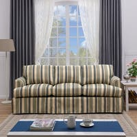 Handy Living Orlando SoFast Coastal Blue Stripe Slipcover Sofa with Skirt