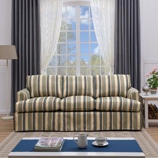 Handy Living Orlando SoFast Coastal Blue Stripe Slipcover Sofa with Skirt