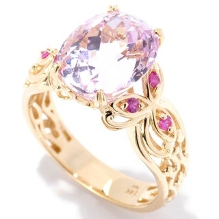 Michael Valitutti 14K Yellow Gold Kunzite & Pink Sapphire Scrollwork Ring