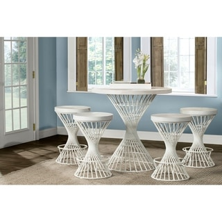 Hillsdale Kanister 5-Piece Round Counter Height Dining  - White Finish