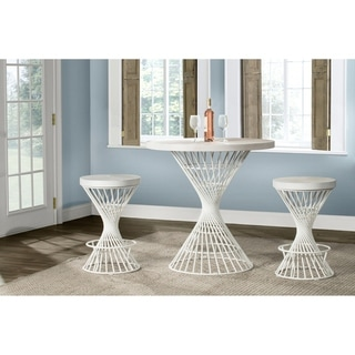 Hillsdale Kanister 3-Piece Round Counter Height Dining  - White Finish