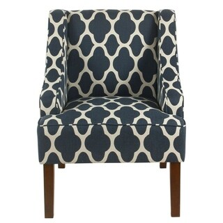 HomePop Classic Swoop Arm Chair - Navy Geometric