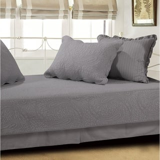 Greenland Home Paisley Dance Gray 5-Piece Cotton Daybed Quilt Set
