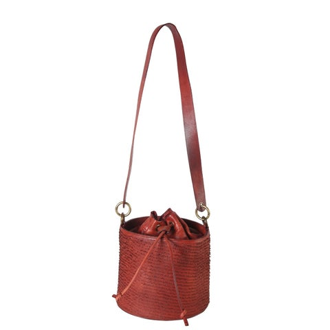 Diophy Genuine Leather Piece Cutting Bucket Cross Body Bag
