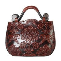 Diophy Genuine Leather Archaize Basso-relievo Tote