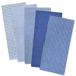 Design Imports Assorted Blue Dishtowel Set of 5 (30 inches long x 20 inches wide)