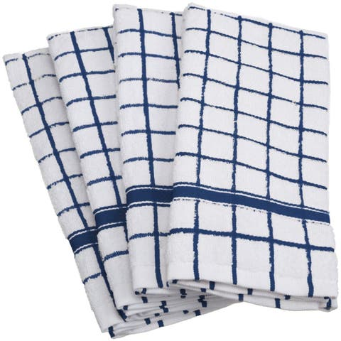 Design Imports Windowpane Terry Dishtowel Set of 4 (26 inches long x 16 inches wide)