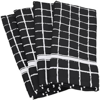 Link to Design Imports Solid Windowpane Terry Dishtowel Set of 4 (26 inches long x 16 inches wide) Similar Items in Table Linens & Decor