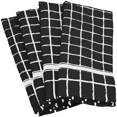 Design Imports Solid Windowpane Terry Dishtowel Set of 4 (26 inches long x 16 inches wide)