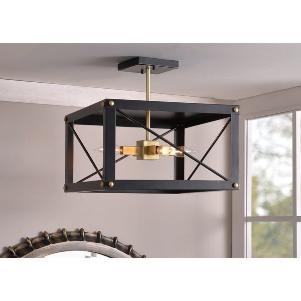 Liam 4 Light Semi Flush - Black and Gold Finish
